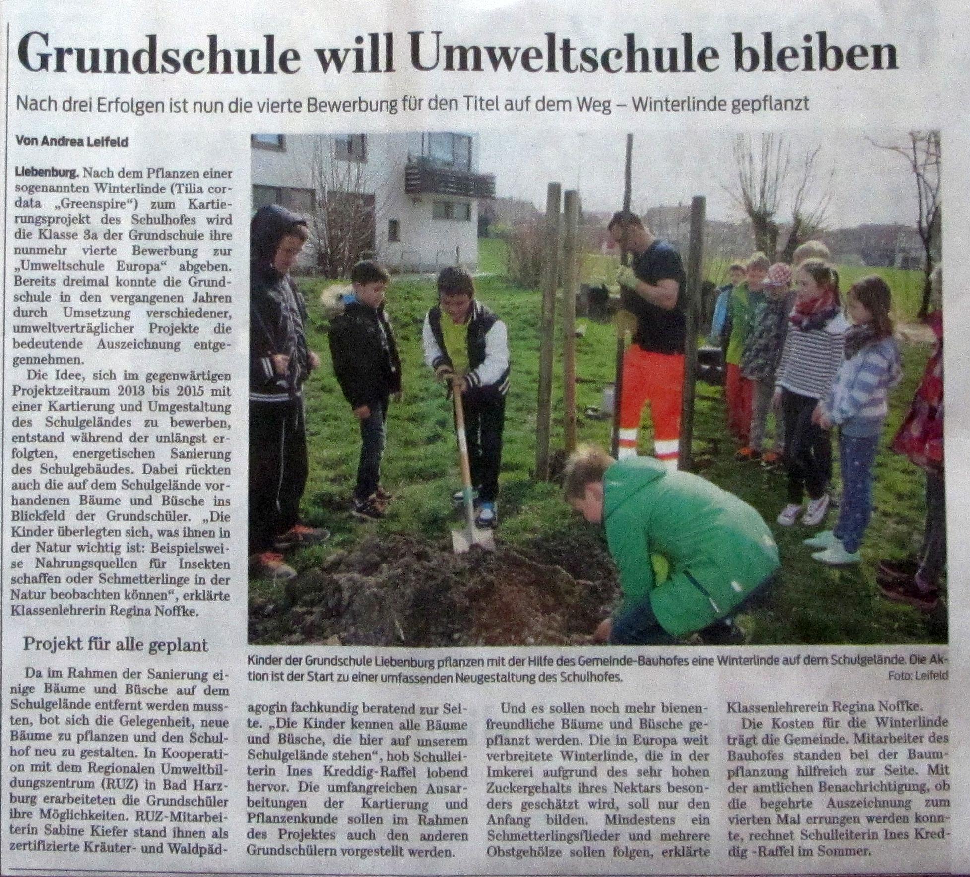 Zeitungsartikel aus der Goslarschen Zeitung vom 16.04.2015