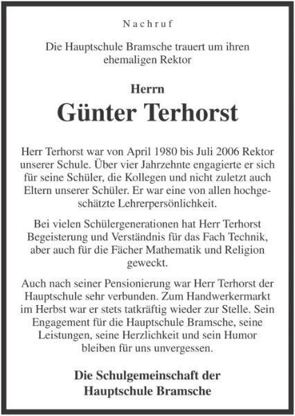 Nachruf Terhorst